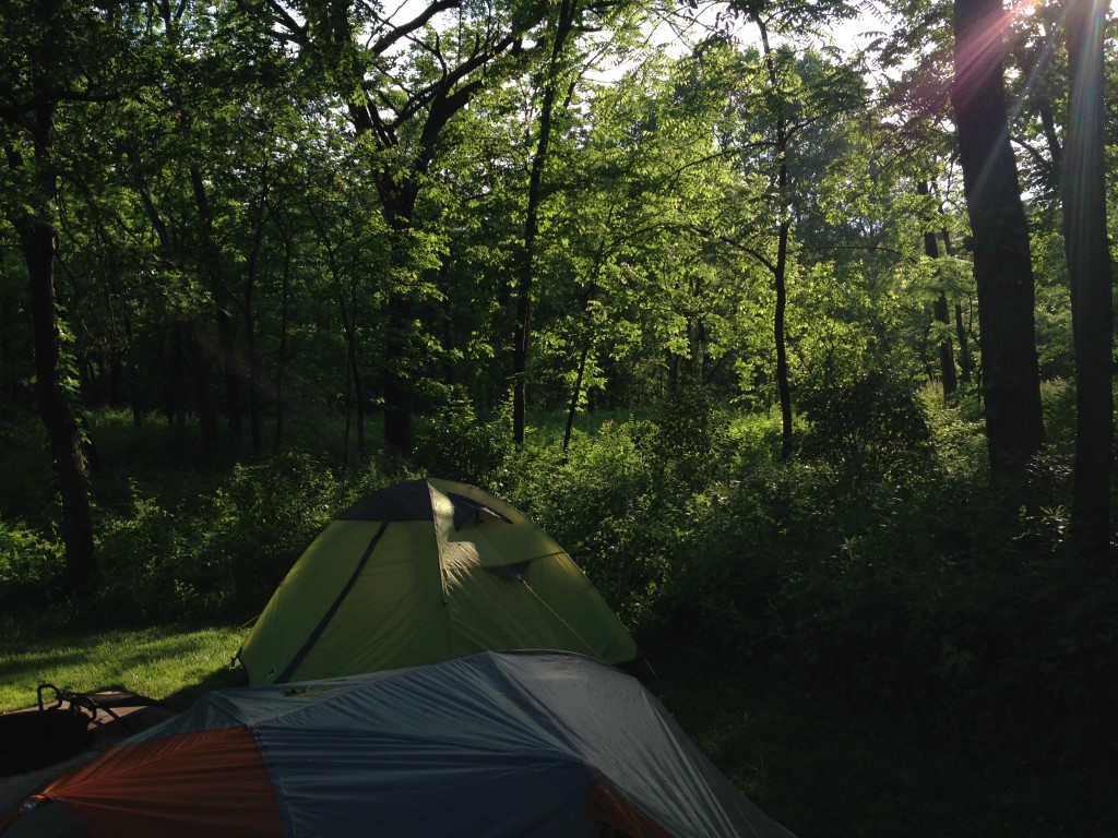 Our campsite at Blackwell Forest Preserve