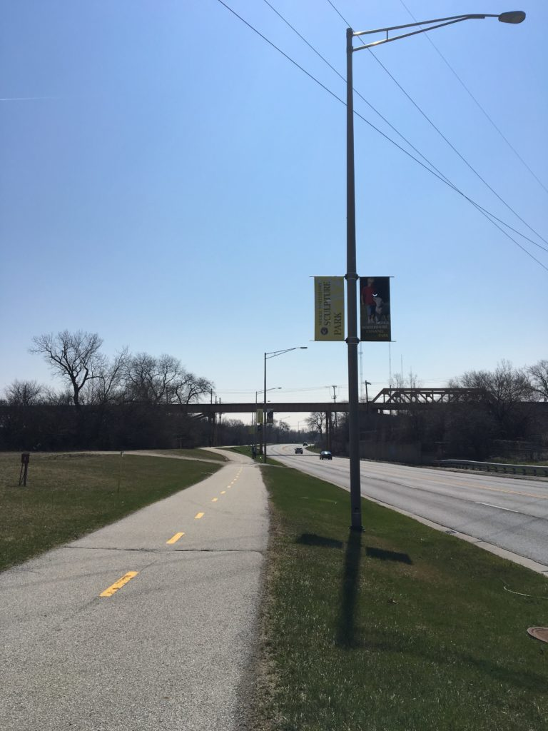 The Skokie Swift in the distance! If you're lucky you will see it going by. It's so swift!
